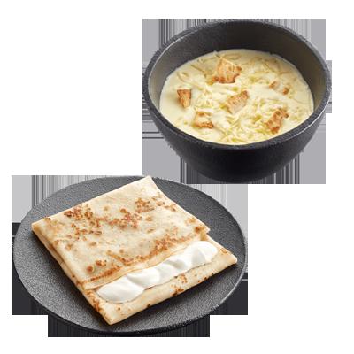 Сырный крем-суп + Блин со сметаной