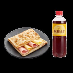 Блин двойной с ветчиной и сыром + Квас в бутылке 0,5 литра