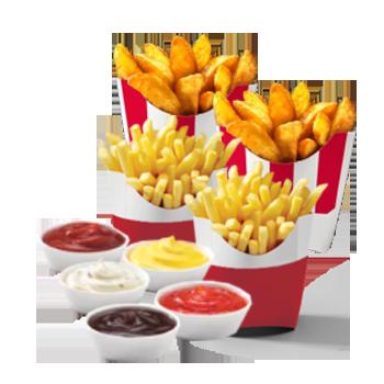2 Картофеля стандартных (фри или по-деревенски) + 2 Соуса на выбор