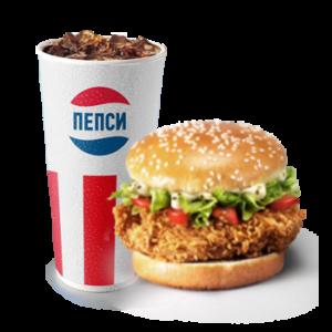 Шефбургер (острый или оригинальный) + Газированный напиток 0,3 литра