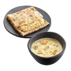 Сырный суп + Блин с капустой и яйцом