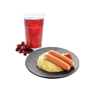 Картофельное пюре с сосисками (2 шт.) + Морс 0,3 литра