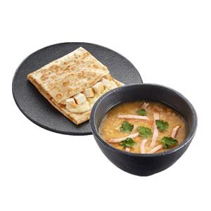 Суп гороховый с копченостями (двойная порция) + Блинчик с курицей и картошкой
